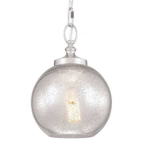 Feiss Tabby Polished Nickel One-Light Mini Pendant with Silver Mercury Plating Glass