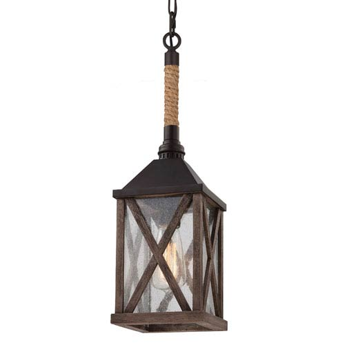 Feiss Lumiere Dark Weathered Oak and Oil Rubbed Bronze One-Light Mini Pendant