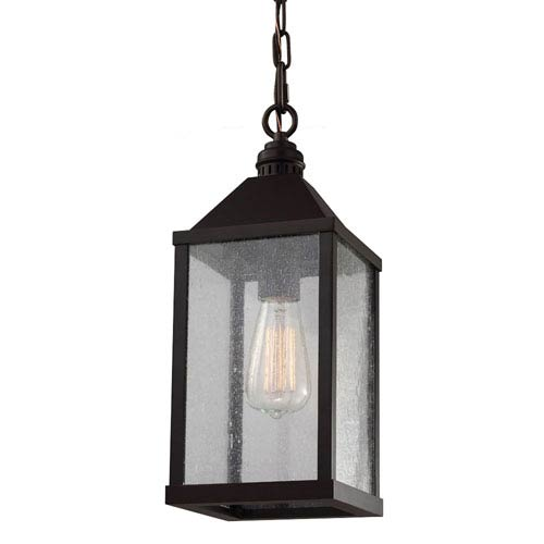Feiss Lumiere Oil Rubbed Bronze One-Light Mini Pendant with Clear Seeded Glass Panel