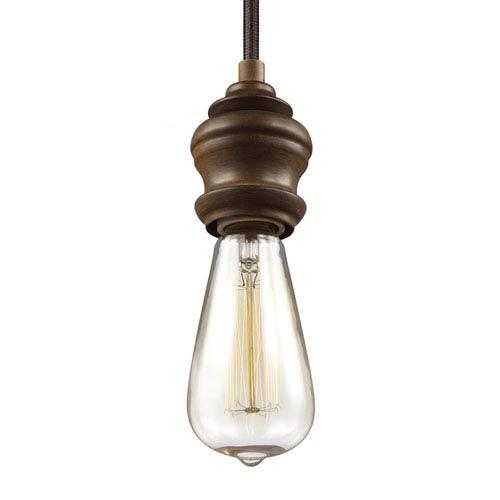 Corddello Weathered Oak One-Light 4-Inch High Mini Pendant