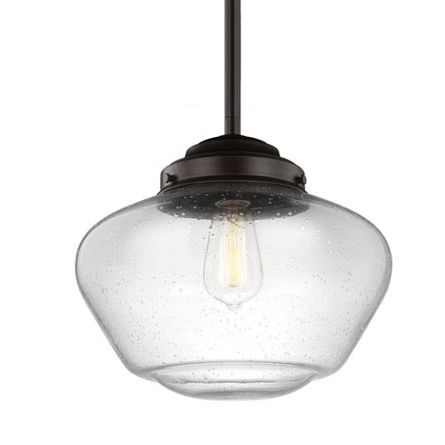 Alcott Oil Rubbed Bronze One-Light 12-Inch Wide Wide Pendant with Clear Seeded Glass