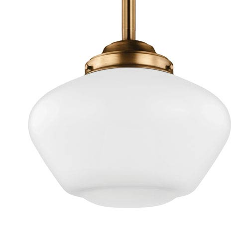 Alcott Aged Brass One-Light 14-Inch Wide Wide Pendant with Opal Glass