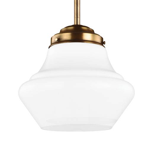 Alcott Aged Brass One-Light 12-Inch Wide Integrated LED Open Pendant with Opal Glass