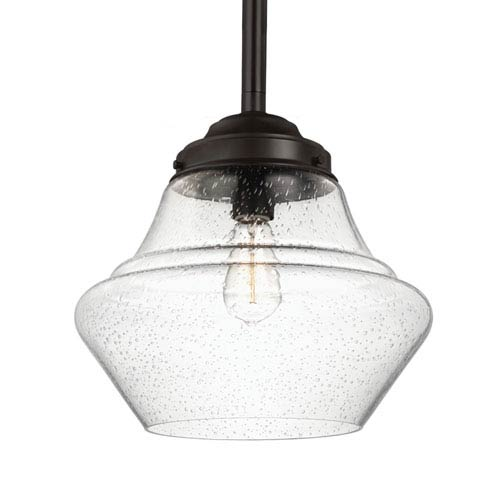 Alcott Oil Rubbed Bronze One-Light 14-Inch Wide Open Pendant with Clear Seeded Glass