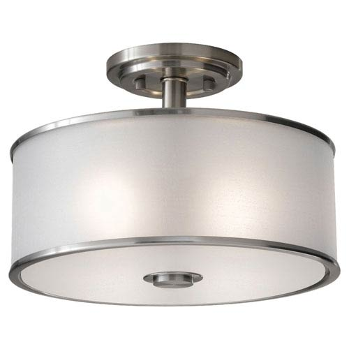 Sea Gull Lighting Casual Luxury Brushed Steel Two-Light Semi-Flush