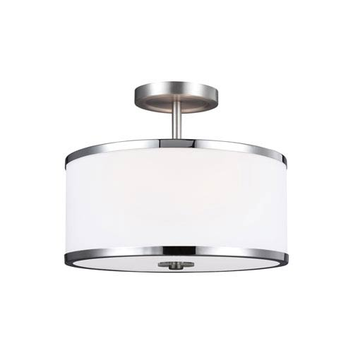 Prospect Park Satin Nickel and Chrome Two-Light Ceiling Fixture