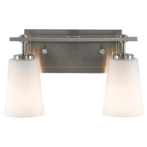 Sea Gull Lighting Sunset Drive Brushed Steel Two-Light Bath Light