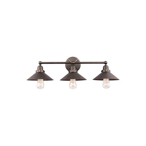 Feiss Hooper Antique Bronze Three-Light Wall Bath Fixture