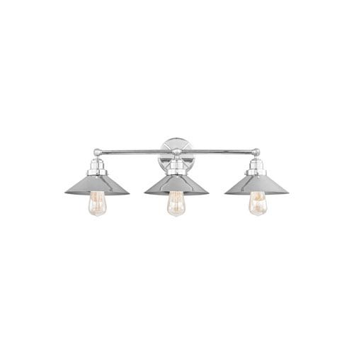 Hooper Chrome Three-Light Wall Bath Fixture