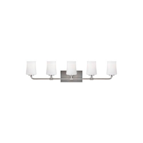 Jennie Satin Nickel Five-Light Wall Bath Fixture