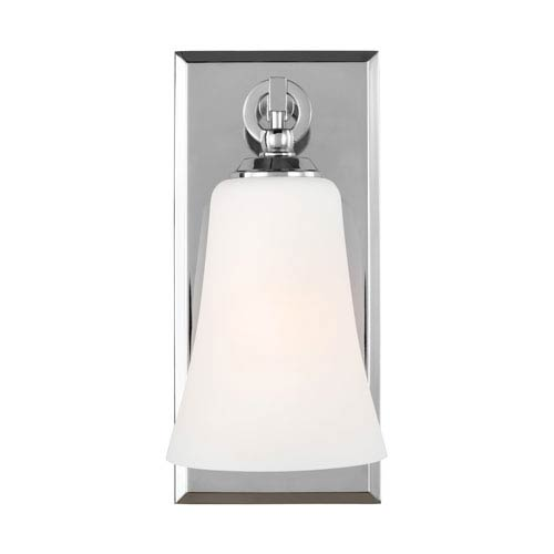 Feiss Monterro Chrome 5-Inch One-Light Wall Bath Fixture with White Opal Etched Glass