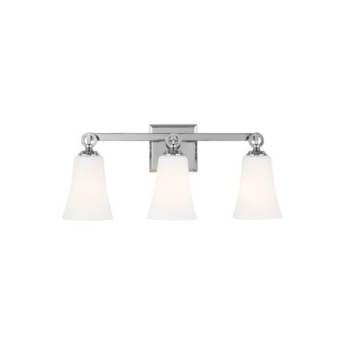 Monterro Chrome 22-Inch Three-Light Wall Bath Fixture with White Opal Etched Glass