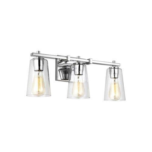 Mercer Chrome 22-Inch Three-Light Bath Light