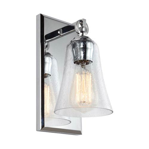 Monterro Chrome 5-Inch One-Light Wall Bath Fixture with Clear Seeded Glass