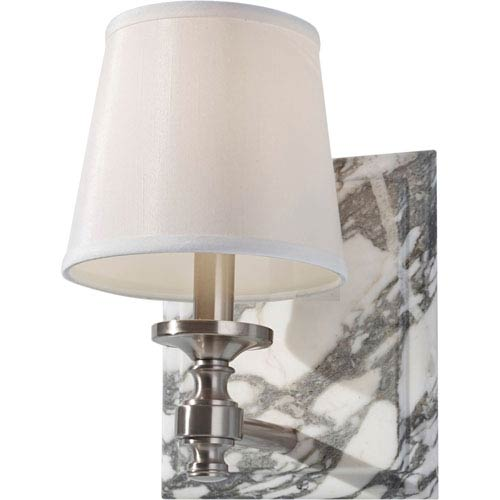 Feiss Carrollton Brushed Steel One Light Vanity Strip with Eggshell Shantung Shade