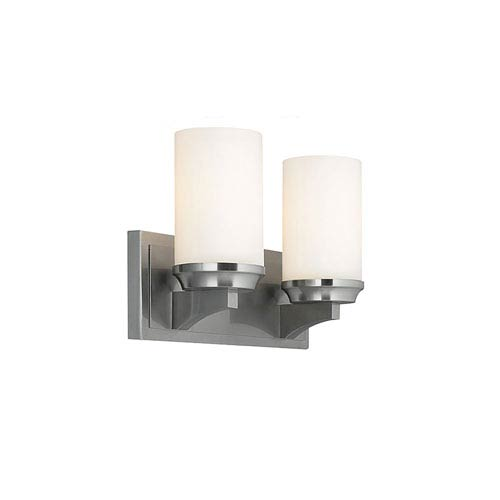 Amalia Brushed Steel Two-Light Vanity Strip with White Opal Etched Glass