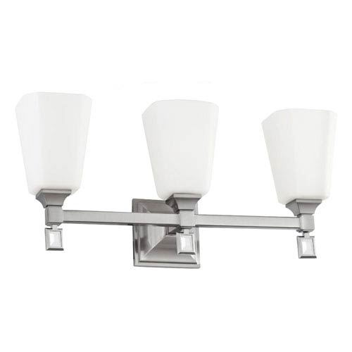 Sophie Brushed Steel Three-Light Wall Bath Vanity with Opal Etched Cased Glass
