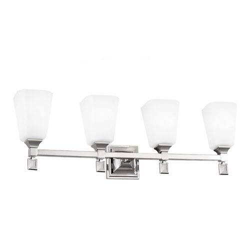 Feiss Sophie Polished Nickel Four-Light Wall Bath Vanity with Opal Etched Cased Glass