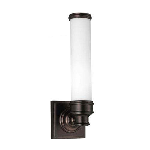 Feiss Payne Dark Plated Bronze One-Light Vanity Strip with Opal Etched Glass