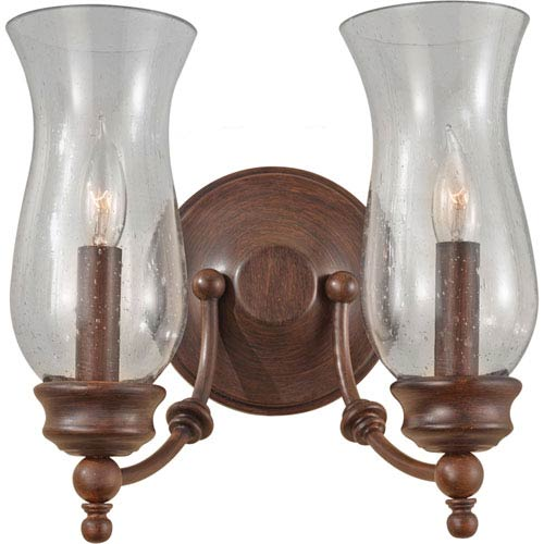 Feiss Pickering Lane Heritage Bronze Two Light Wall Bracket with Clear Seeded Glass