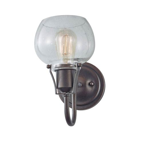 Feiss Urban Renewal Rustic Iron One-Light Wall Bracket with Clear Seeded Glass