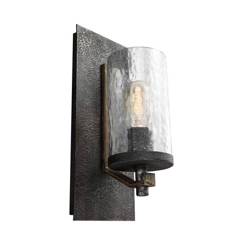 Feiss Angelo Distressed Weathered Oak and Slated Grey Metal One-Light Wall Bath Fixture