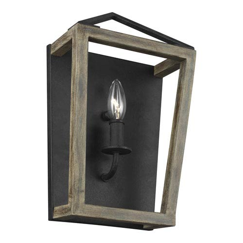 Feiss Gannet Weathered Oak Wood and Antique Forged Iron 9-Inch One-Light Bath Light