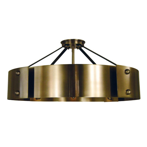 Lasalle Antique Brass with Matte Black Accents 24-Inch Eight-Light Semi Flush Mount