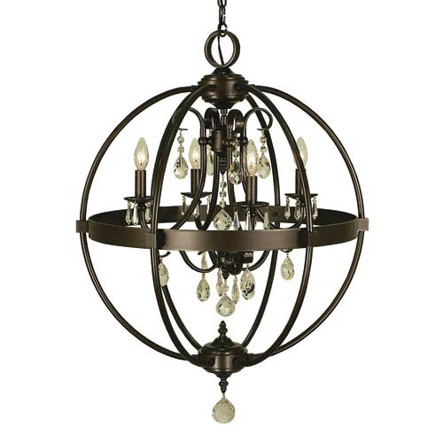 Compass Mahogany Bronze 21-Inch Four-Light Chandelier