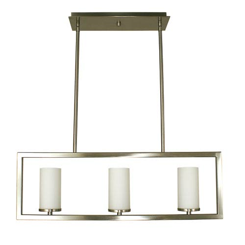 Theorem Brushed Nickel 30-Inch Three-Light Island Pendant