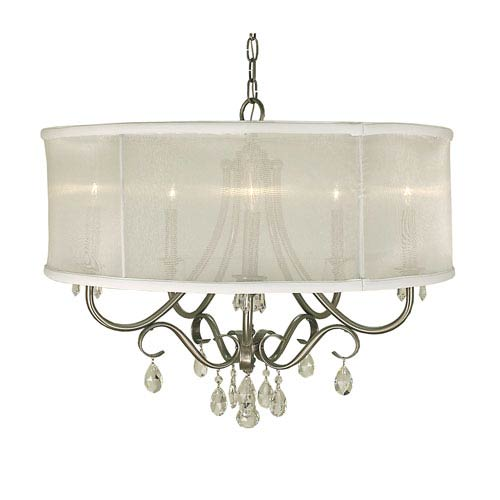 Liebestraum Brushed Nickel with Sheer White Shade 26-Inch Five-Light Pendant