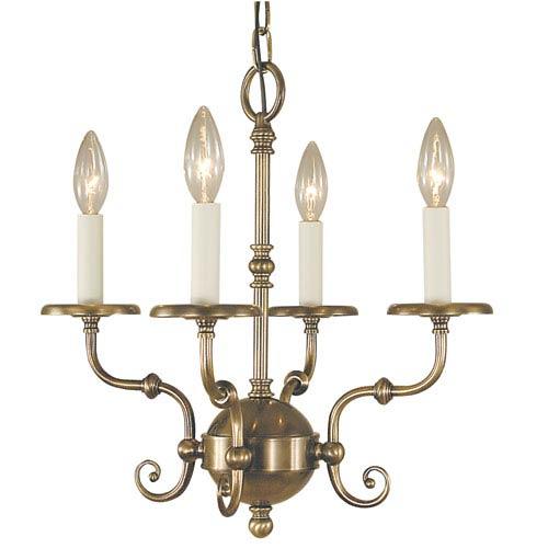Jamestown Antique Brass 17-Inch Four-Light Chandelier