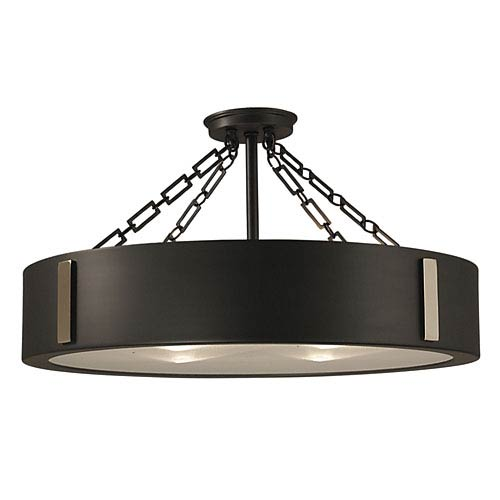 Framburg Oracle Charcoal with Polished Nickel Accents 16-Inch Four-Light Semi-Flush Mount
