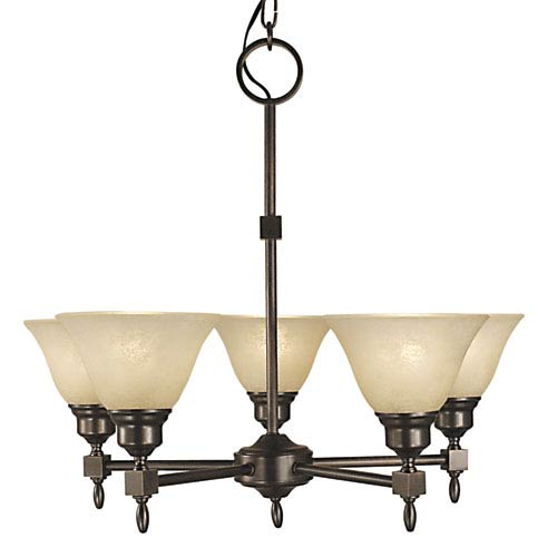 Taylor Siena Bronze with Champagne Marble Glass Shade 24-Inch Five-Light Chandelier