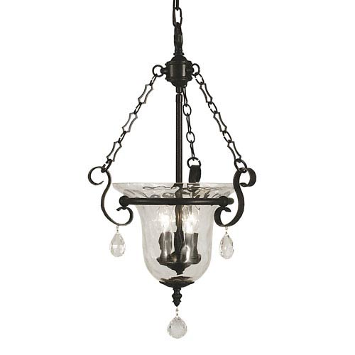 Carcassonne Matte Black 14-Inch Three-Light Pendant