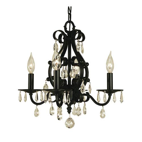 Framburg Liebestraum Matte Black 16-Inch Four-Light Chandelier