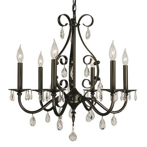 Liebestraum Mahogany Bronze 24-Inch Six-Light Chandelier