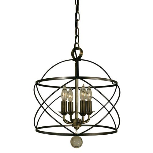 Nantucket Mahogany Bronze and Antique Brass 13-Inch Four-Light Pendant