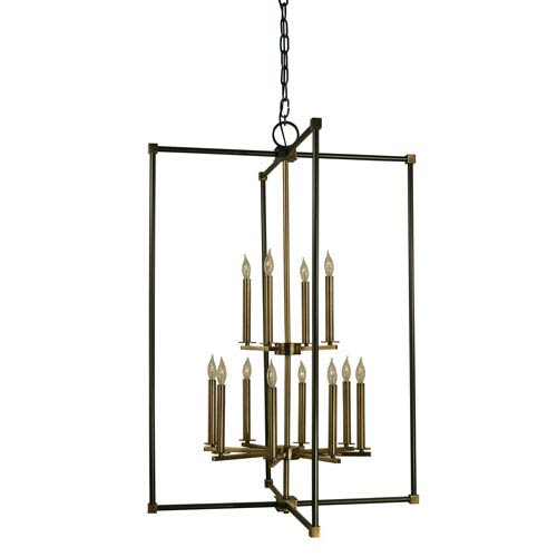 Framburg Lexington Mahogany Bronze with Antique Brass 30-Inch Twelve-Light Chandelier