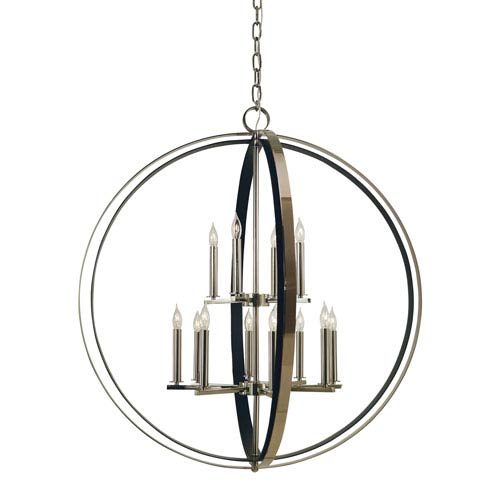 Constellation Polished Nickel with Matte Black 36-Inch Twelve-Light Chandelier
