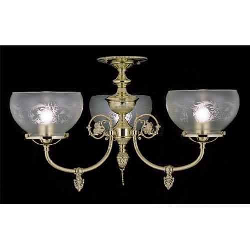 Chancery Polished Brass Three-Light Flush Mount