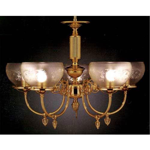 Chancery Polished Brass Five-Light Chandelier