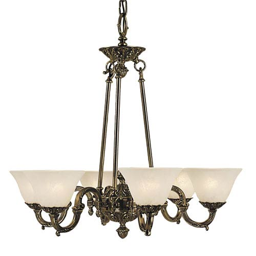 Napoleonic French Brass with White Marble Glass Shade 28-Inch Six-Light Chandelier