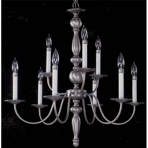 Early American Satin Pewter Two-Tier Chandelier