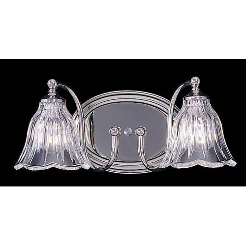 Crystal Nouveau Polished Nickel Two-Light Bath Fixture
