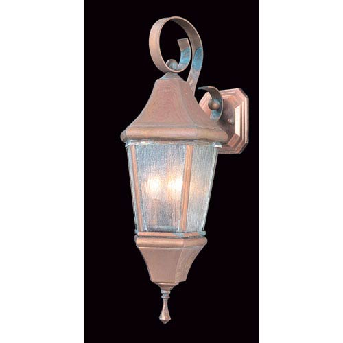 Normandy Raw Copper with Rain Glass 8-Inch Three-Light Outdoor Wall Mount