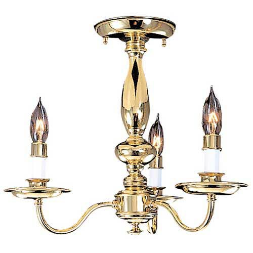 Jamestown Polished Brass Semi-Flush Ceiling Light