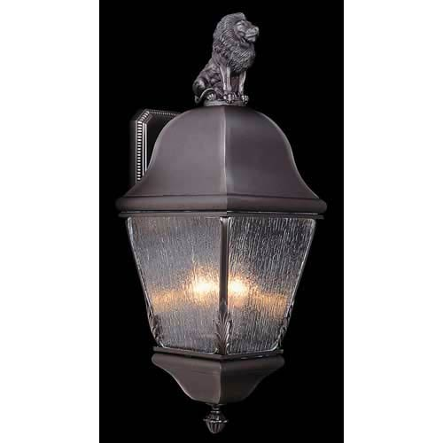 Coeur de Lion Iron Large Outdoor Wall Mounted Lantern with Lion