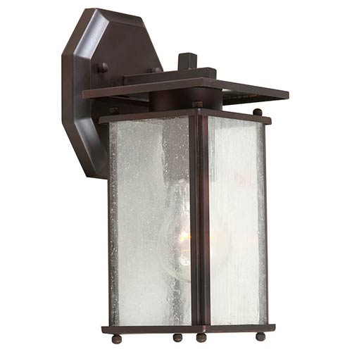Forte Lighting Antique Bronze One-Light 10.75-Inch High Brass Outdoor Wall Sconce