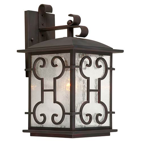 Forte Lighting Antique Bronze One-Light Outdoor Wall Sconce with Clear Seeded Glass Panel
